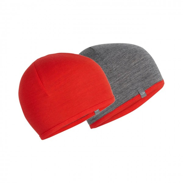 Icebreaker Merino Mütze Pocket - Chili Red/Gritstone HTHR